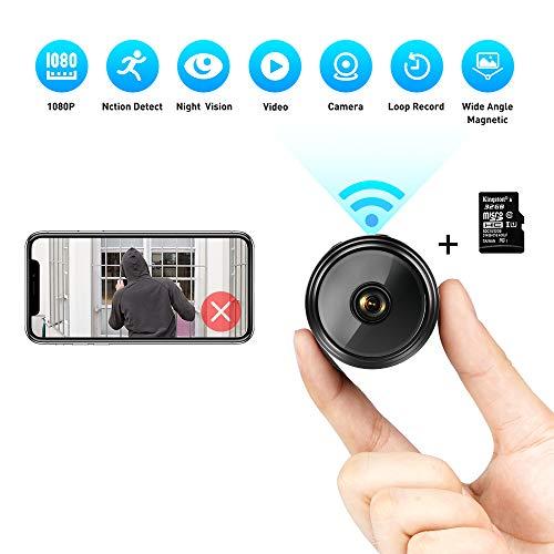 Mini Kamera 1080P HD Kleine WLAN Mini Überwachungskamera mit Nachtsicht-Bewegungserkennung und und Magnet Mikro Nanny Cam für Innen- und Außenbereich mit Einer 32G SD Karte