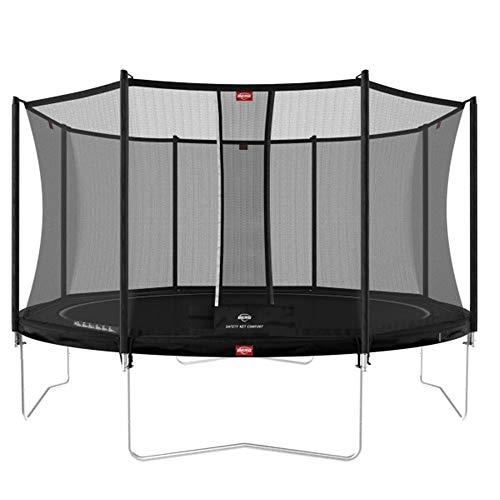 BERG Favorit Trampoline Regular 430 cm schwarz + Safety Net Comfort | Premium Trampolin, Hohe Qualität Kinder Trampolin, Robust und Sicher, Rund
