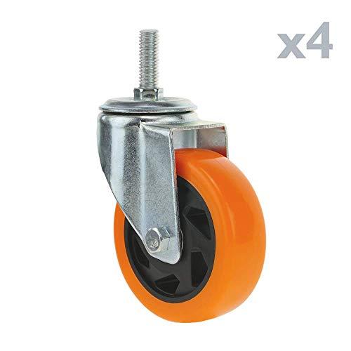PrimeMatik - Rueda pivotante Industrial de Poliuretano sin Freno 100 mm M12 4-Pack