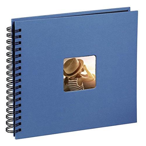 Hama Fotoalbum (28 x 24 cm, 50 schwarze Seiten, 25 Blatt, mit Ausschnitt für Bildeinschub) Fotobuch azur
