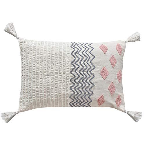LaLe Living SARA - Funda de cojín con diseño de flores, color blanco marfil, rosa, azul, de algodón, con taza, 60 x 40 cm