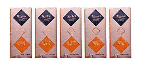 Beppiani - Set 5 Tablets Finest Milk Chocolate - 375 g - CHOCOLATE ARTESANO - Sin Gluten - MADE IN ITALY