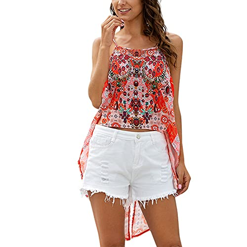 FrüHling Und Sommer Damen Casual Fashion V-Ausschnitt Gedruckt Schwalbenschwanz UnregelmäßIger Saum Lose Chiffon Leibchen äRmelloses T-Shirt Top Damen