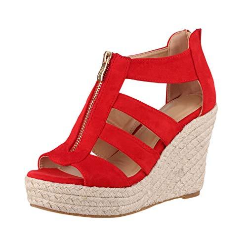 Jumex Elara Sandalias de Mujer Cuña Plataforma Chunkyrayan Rojo TH82221-Rot-40