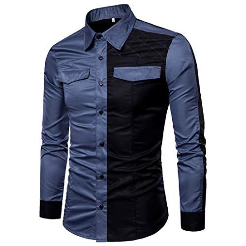 Hemden Herren Hemden Herren Bequeme Business Casual Langarm Slim Fit Alltagskleidung Herren Hemden Herbst Neue Langärmelige Freizeit Urlaub Einfachheit Herren Hemd G-Navy. 3XL