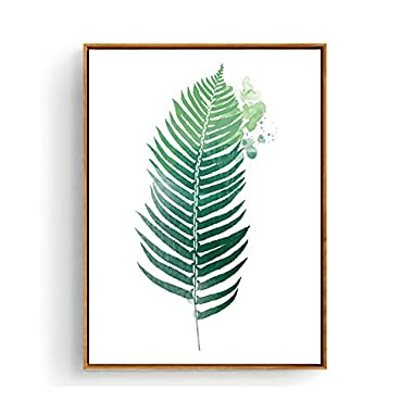 Hepix Canvas Wall Art Tropical Green Leaves Painting for Modern Home Decor Stretched and Framed Ready to Hang 13 x 17 inch