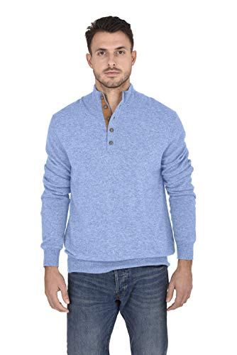 Cashmeren Men's Contrast Mockneck Pullover 100% Pure Cashmere Button Up Polo High Neck Sweater (Baby Blue, Medium)