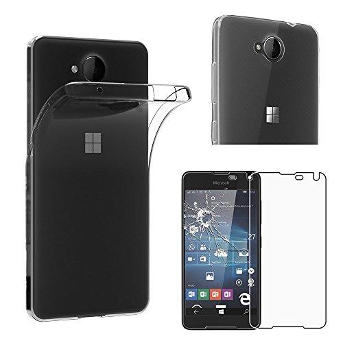 ebestStar - kompatibel mit Microsoft Lumia 650 Hülle Handyhülle [Ultra Dünn], Durchsichtige TPU Schutzhülle, Soft Flex Silikon, Transparent +Panzerglas Schutzfolie [Lumia 650: 142x70.9x6.9mm 5.0