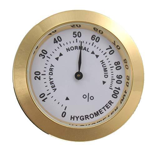 Messing Analog Hygrometer Zigarrentabak Luftfeuchtigkeitsmesser und Glasobjektiv für Humidore Raucherfeuchtigkeitsempfindlichen Messgerät - Gold