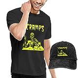 Thimd Camiseta de Manga Corta para Hombre,Gorra de béisbol Combinación Negro The Cramps T-Shirts and Washed Denim Baseball Dad Cap Black