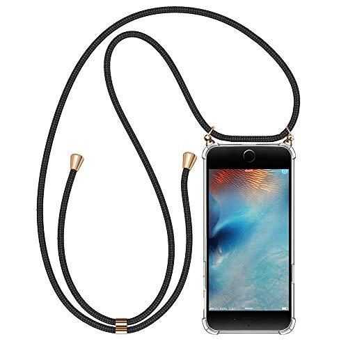 Migimi Funda con Cuerda iPhone SE 2020, Carcasa Transparente TPU Silicona Case con Correa Colgante [Moda y Practico] [ Anti-Choque][Anti-rasguños] Ajustable Collar Correa para iPhone SE 2020/7/8