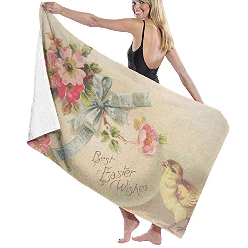 SGIMWPOM Microfiber Beach Towel Best Easter Wishes Printed Bath Towel Lightweight Large Beach Towel Ultra Absorbent Bath Towel Bath Sheet for Beach/Home/Spa/Pool/Gym/Travel