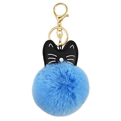 Wimagic - Llavero con pompón, diseño de gato y peluche, ideal para decoración de coche 16*11*8CM azul 1