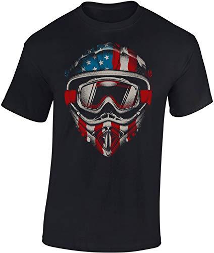 Baddery Maglietta: American Motocross - Moto - Idea Regalo per Motociclista - Biker T-Shirt - Maglia Uomo Uomini - Motocicletta - Moto-Cross - Moto-X - Nera - Chopper - Bike - USA (XXL)