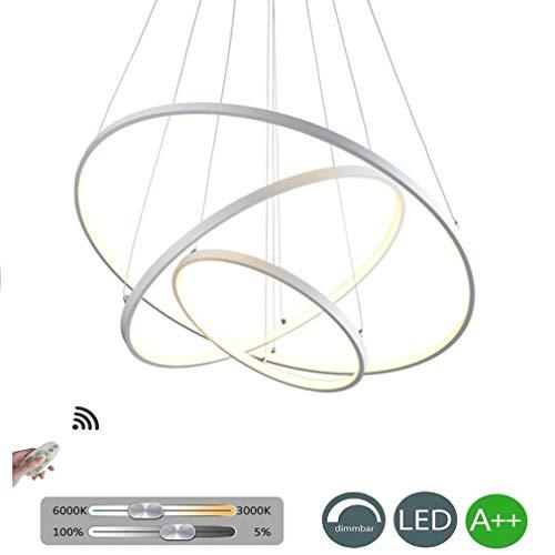 FRO Exklusives Design Moderner Kreisförmiger Weißer Acryl LED Kronleuchter Verstellbare Hängelampe Zeitgenössische Hängeleuchte Pendelleuchte Höhe 3 Ringe Esszimmer Wohnzimmer Hängelampe