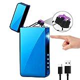 KIMILAR Mechero Eléctrico, Encendedor Eléctrico USB Recargable Doble Arco A Prueba de Viento Sensor Tactil Sin Llama para Velas Cocina [Caja de Regalo] (Azul Hielo)