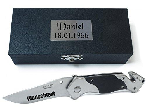 TH-Design Taschenmesser, Multifunktionsmesser mit Gravur nach Wunsch (im Holzetui)