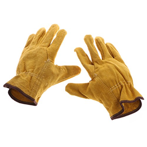 Techinal 1Pair Short Welding Gloves, Heat Resistant & Wear Resistant Leather And Fireproof For Tig,Mig Welders/Fireplace/Gardening/BBQ/Grilling, Yellow- 9 X 6 Inches