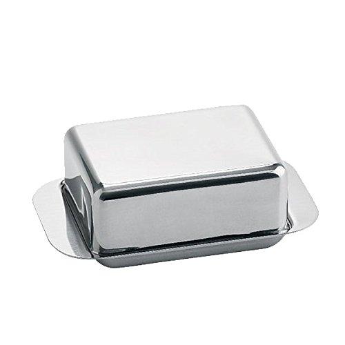 Weis Butterdose, Edelstahl, Silber, 12.5 x 7.5 x 4.5 cm