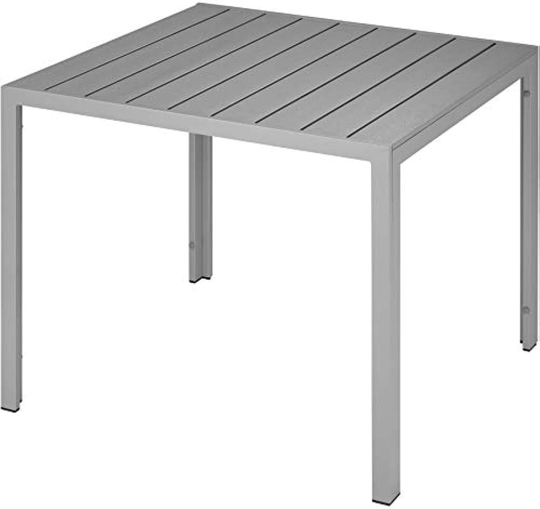 TecTake 800587 Gartentisch, Wetterfest, aus Aluminum und Kunststoff, Paneele in Holzoptik, Zwei hhenverstellbare Füe  Diverse Farben (Silber  Nr. 402955)