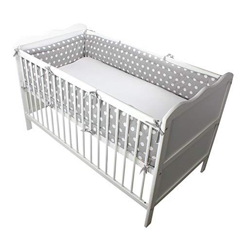 TupTam Protector para Cama de Bebé Largo Acolchado, Grandes Puntos Blancos/Grises, 420x30 cm (Cuna 140x70 cm)