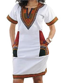 Women s Bodycon Dashiki African Midi Dresses Bohemian Vintage Club Dress with Pocket