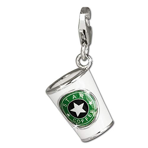 SilberDream Charm 925 Echt Silber Armband Anhänger bunt Kaffeebecher FC666