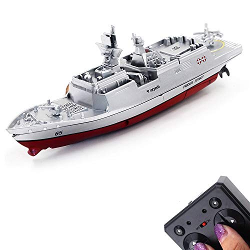 Tipmant Military RC Naval Ship Vessel Model Remote Control Boat Toy Speedboat Electric Water Kids Birthday (Silver)