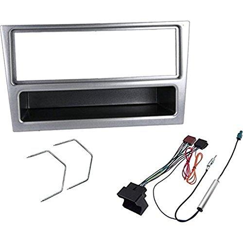 Kit montaggio mascherina adattatore autoradio stereo per Opel color alluminio 1 DIN