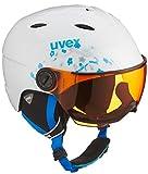 Uvex Kinder Junior Visor Skihelm, White-Turquoise, 54-56 cm