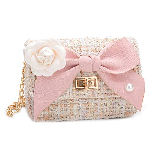 BigForest Little Girls Handtasche Woolen Shoulder Bag Bowknot Kinder Mini Crossbody Messenger Wallet Purse