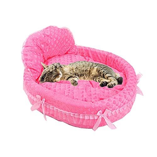 hanbby hundebetten für mittlere Hunde katzenbett Kätzchenbett Prinzessin Haustierbett Plüsch Hundebett Luxus Hundebett Hundekomfortbett Haustiernest Rose red