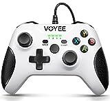 VOYEE Controlador con cable compatible con Xbox One/X/S/PC Windows 10/8/7, con conector para auriculares/doble choque/joystick actualizado - blanco