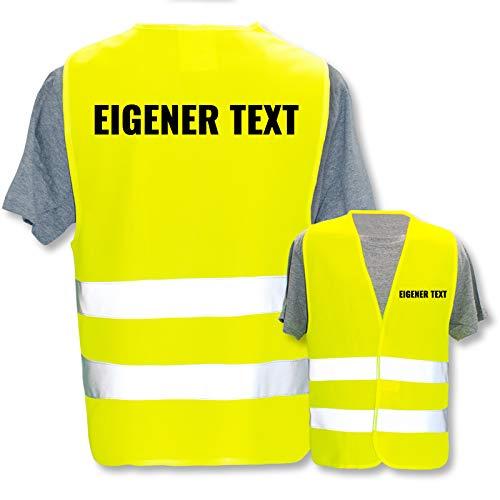 Bedruckte Marken-Warnwesten mit Leuchtstreifen * Standard- o. Reflex-Druck * Einsatzkräfte, Warnweste Begriffe Einsatzkräfte:Eigener Text, Farbe + Größe:Gelb (M/L)