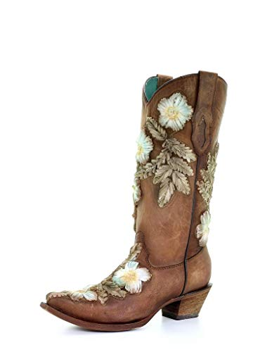 CORRAL Women's Tobacco Hand Printed Floral Western Boot Snip Toe Brown 7.5 M