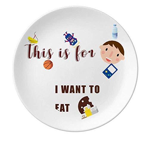 Eat Pancake Desire Life - Plato redondo de porcelana para cenar