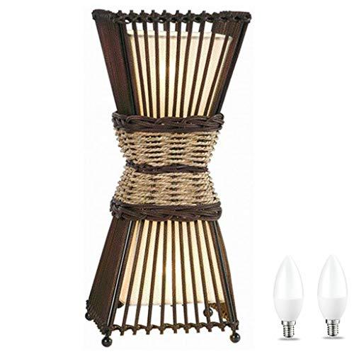 Moderna lampada da tavolo in bambù Ambiente con interruttore a cordoncino, 3 posizioni, 3000 K, lampada da tavolo in legno e rattan, lampada da scrivania, per soggiorno, marrone, beige, LED incluso