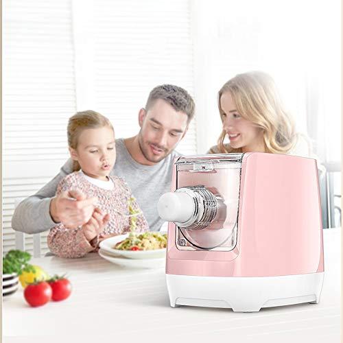 Keliour Pasta Maker Maschinenzubehör Intelligente Funktion Automatische Nudelmaschine Haushalt Kleine Elektro-Nudel-Press Dumpling Peel Maschine (Farbe : Rosa, Größe : 36x22x25cm)