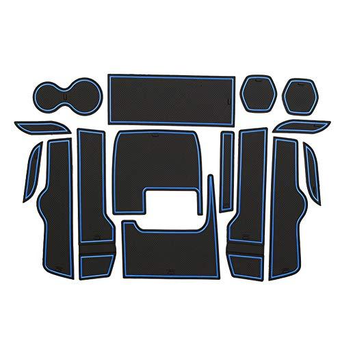 LFOTPP Civic Gummimatten, Gummi Matten Antirutschmatten für Getränkehalter Mittelkonsole Armlehne Türschlitz 16 Stücke (Blau)