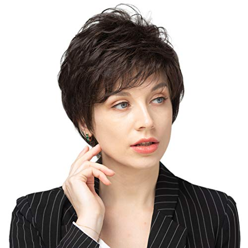Emmor Short Dark Brown Blend Human Hair Wigs for Women and Lady - Natural Hair Pixie Cut Wig With Bang , Daily Use ( Color 6#)
