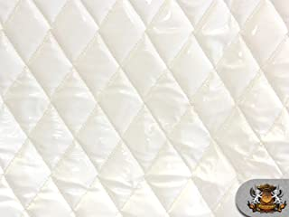 "Vinyl Quilted Foam Glossy White Fabric w/ 3/8"" Foam Backing Upholstery"