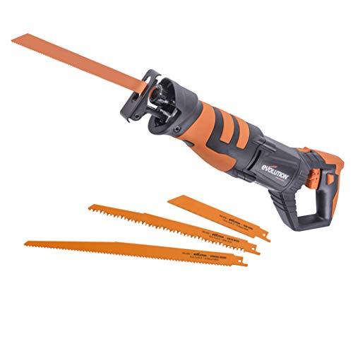 Evolution Power Tools 044-0001 R230RCP Reciprocating Saw, Multi-Material Cutting, 180° Rotating Handle, 850W, (230V), 850 W, 230 V