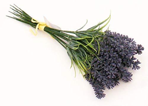 an artificial bundle of blue plastic lavender and floliage - 12 flower stems