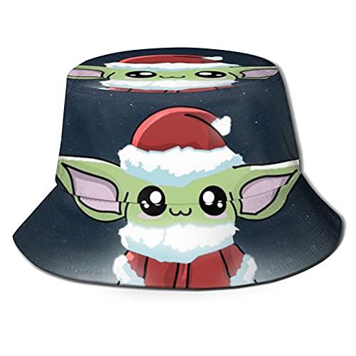 MIAOXXUAN Bebé Yoda Navidad cubo sombrero pescador Sombreros Unisex Impreso Doble Cara Cubo Sombreros Verano Moda Protector Solar Visera Plegable Al Aire Libre Deporte Cap Niños Niño Negro