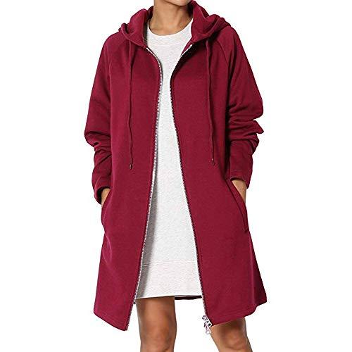 FRAUIT Dames elegante herfst winter warme lange capuchon rits gebreide jas casual lange trenchcoat mantel hoodie sweatshirt rits sweatjas oversized coat hoodie outwear