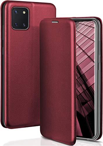 ONEFLOW Handyhülle kompatibel mit Samsung Galaxy Note10 Lite - Hülle klappbar, Handytasche mit Kartenfach, Flip Hülle Call Funktion, Klapphülle in Leder Optik, Weinrot