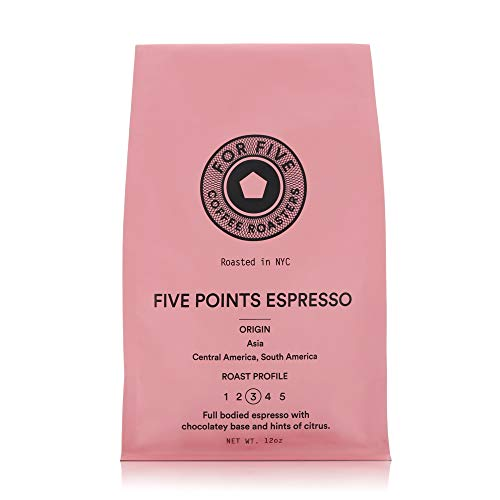 For Five Coffee Roasters - Roasted In NYC - Five Points Espresso Medium Roast (Origin: Asia, Central America, South America), Whole Bean 12oz