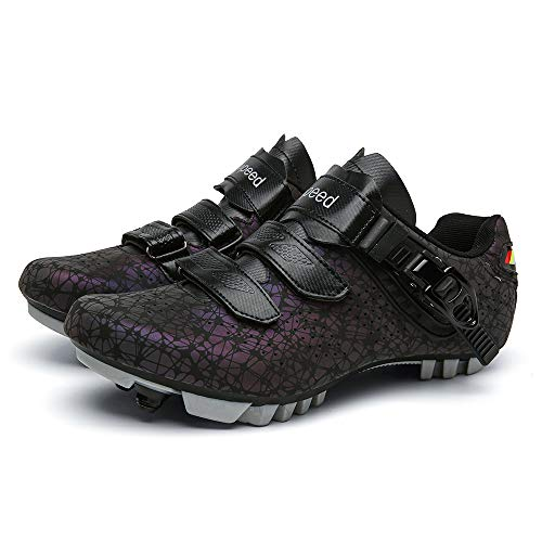 JQKA Zapatillas de Ciclismo de Bicicleta de Montaña para Hombre Compatibles con SPD-SL y Zapatillas de Ciclismo de Interior para Mujer Resistentes al Desgaste con Tacos(Size:44,Color:Negro)