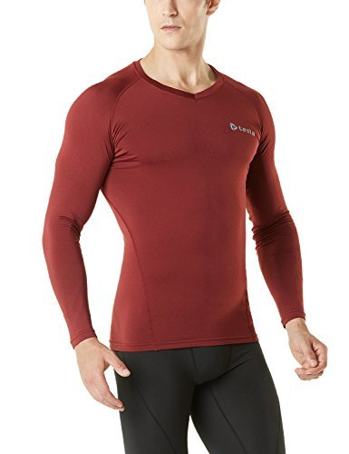 TM-V34-BR_Medium Tesla Men's Thermal WinterGear Compression Baselayer V Neck Long Sleeve Shirts V34