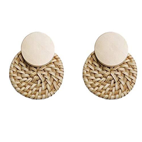 Orecchini a cerchio in rattan, realizzati a mano, in paglia intrecciata, per donne e ragazze, leggeri, stile bohémien, 6,75, colore: White Color, cod. R130